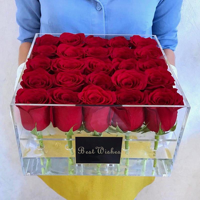 Boite D Emballage De Fleur Acrylique Claire Pour La Saint Valentin